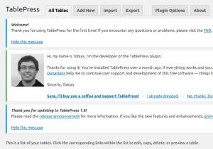 Uppdatera tabellinformation i TablePress